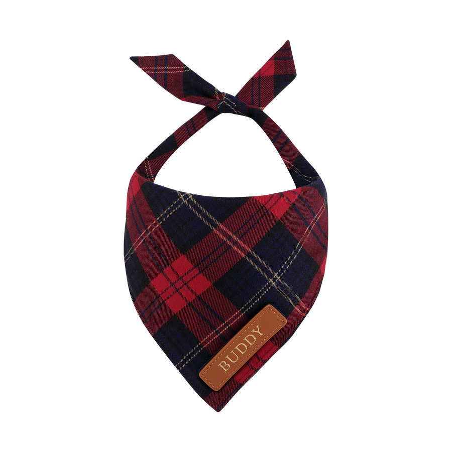 Navy & Red Tartan Cat Bandana