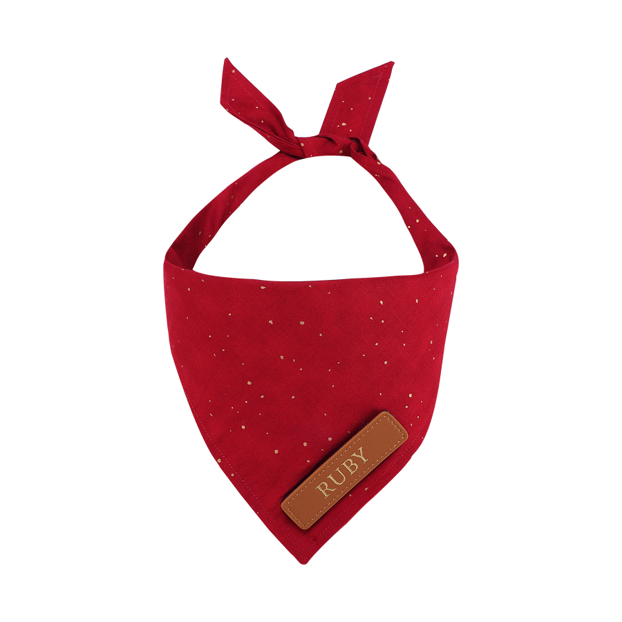 Red and Gold Mini Polka Dots Cat Bandana