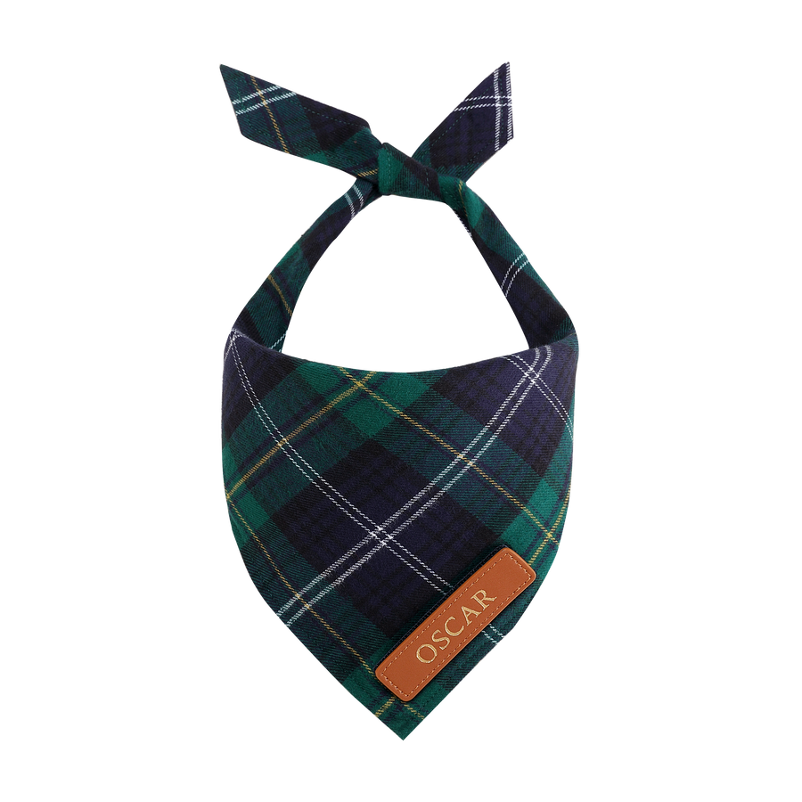 Navy & Green Tartan Cat Bandana
