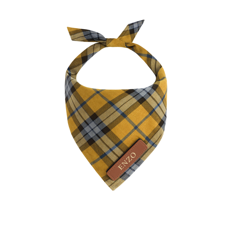 Yellow Tartan Dog Bandana