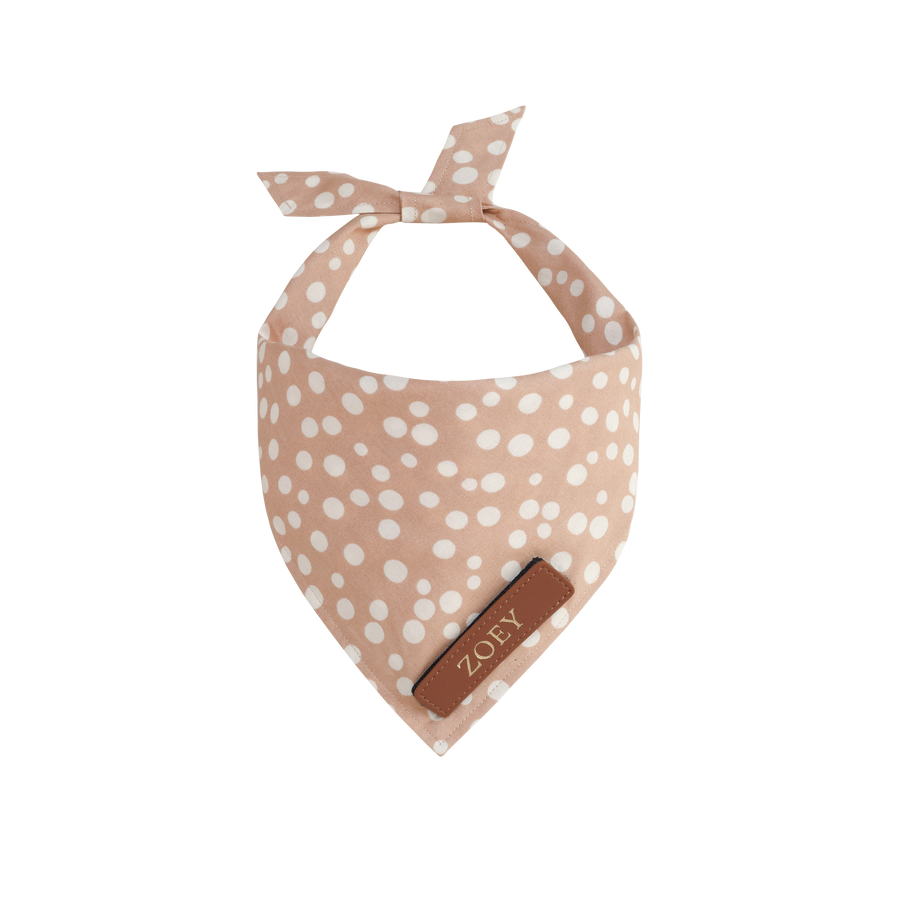 Warm Beige and White Polka Dots Dog Bandana