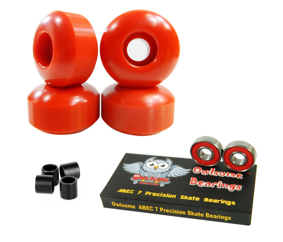 Blank Pro 52mm 99a Skateboard Wheels + Owlsome ABEC 7 Bearings