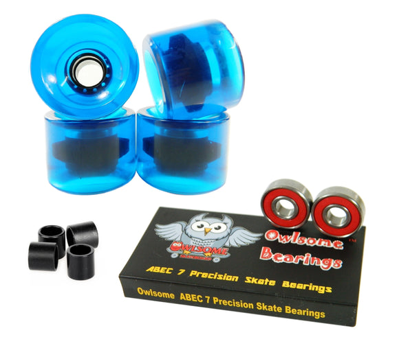 Blank Pro 60mm 82a Cruiser Wheels + Owlsome ABEC 7 Bearings