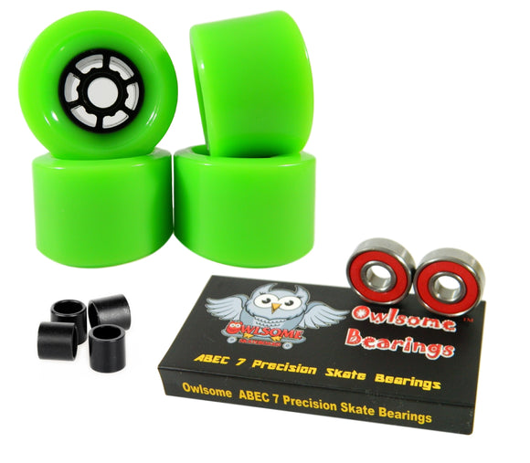 Blank Pro 83mm 80a Longboard Wheels Flywheels + Owlsome ABEC 7 Bearings