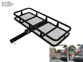 "Armordillo 2"" Hitch Cargo Carrier 20"" X 58"" Basket Style Fold Up Trailer Hitch - Black"
