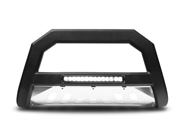 Armordillo 2008-2010 Ford Super Duty F-250/F-350/F-450 AR Series Bull Bar w/ LED - Matte Black w/ Aluminum Skid Plate - Armordillo USA by I3 Enterprise Inc.