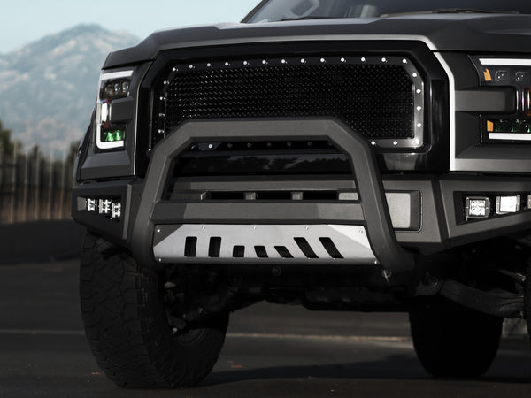 Armordillo 1999-2004 Ford Super Duty F-250/F-350/F-450/F-550 AR Series Bull Bar - Matte Black W/Aluminum Skid Plate - Armordillo USA by I3 Enterprise Inc.