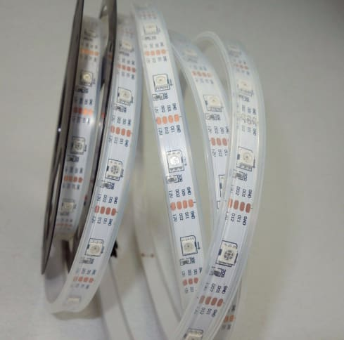 Digital Rgb Addressable Led Weatherproof Strip - 60 Led With Integrated Controller - 1M - Leds