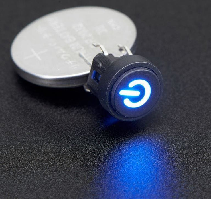 Mini Illuminated Momentary Pushbutton - Blue Power Symbol - Switches