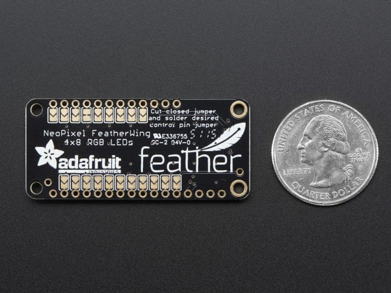 Neopixel Featherwing - 4X8 Rgb Led Add-On For All Feather Boards (Id: 2945) - Led Displays