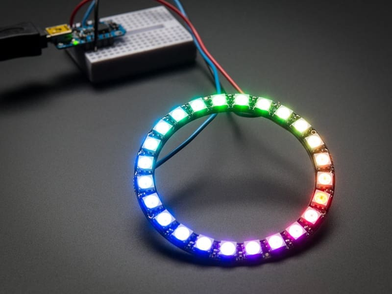Neopixel Ring - 24 X Ws2812 5050 Rgb Led With Integrated Drivers (Id: 1586) - Leds