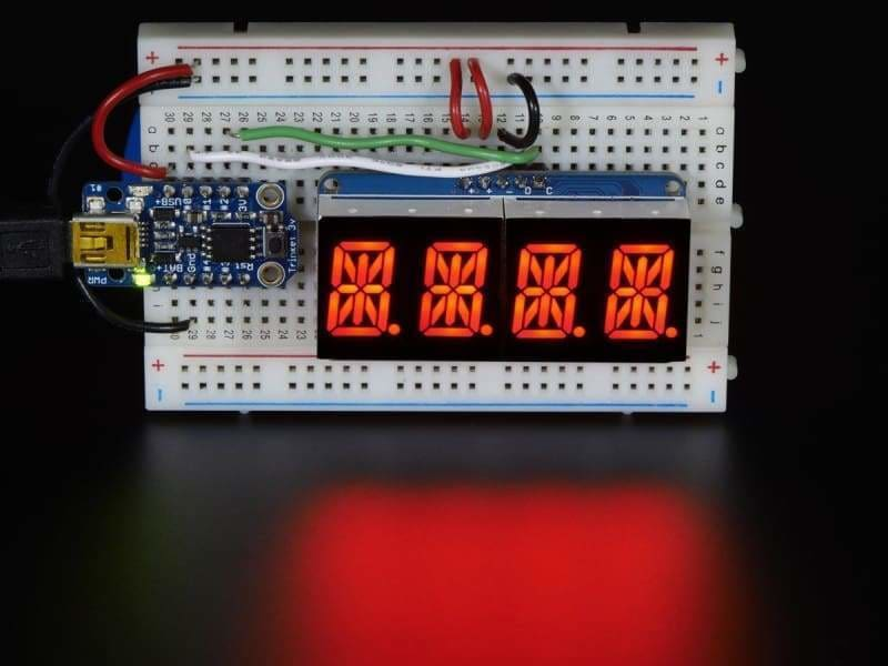 Quad Alphanumeric Display - Red 0.54 Inch Digits W/ I2C Backpack (Id: 1911) - Led Displays
