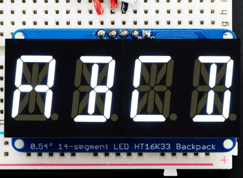 Quad Alphanumeric Display - White 0.54 Inch Digits W/ I2C Backpack (Id: 2157) - Led Displays