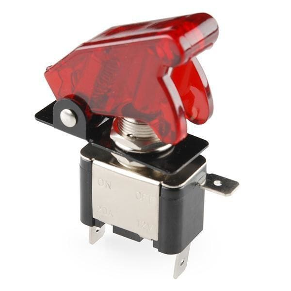 Toggle Switch and Cover - Illuminated (Red) (COM-11310)