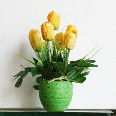 Artificial Yellow Tulip pot