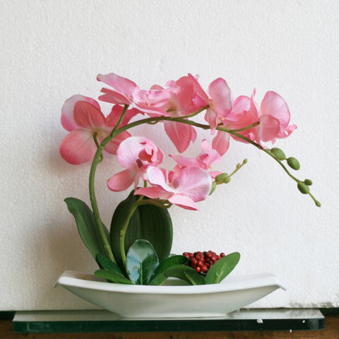 Artificial Pink Orchid Phalaenopsis In Flat Boat Pot With Berries