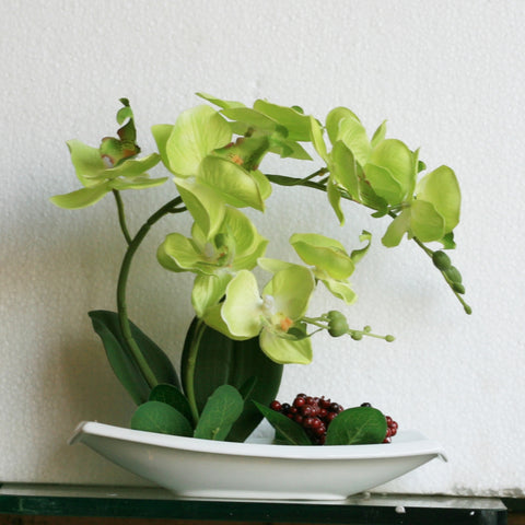 Artificial Yellow Orchid Phalaenopsis In Flat Boat Pot With Berries