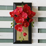 Artificial Hanging Red Orchid Wall Frame