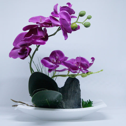 Artificial Violet Orchid Phalaenopsis In Flat Boat Pot With Rock