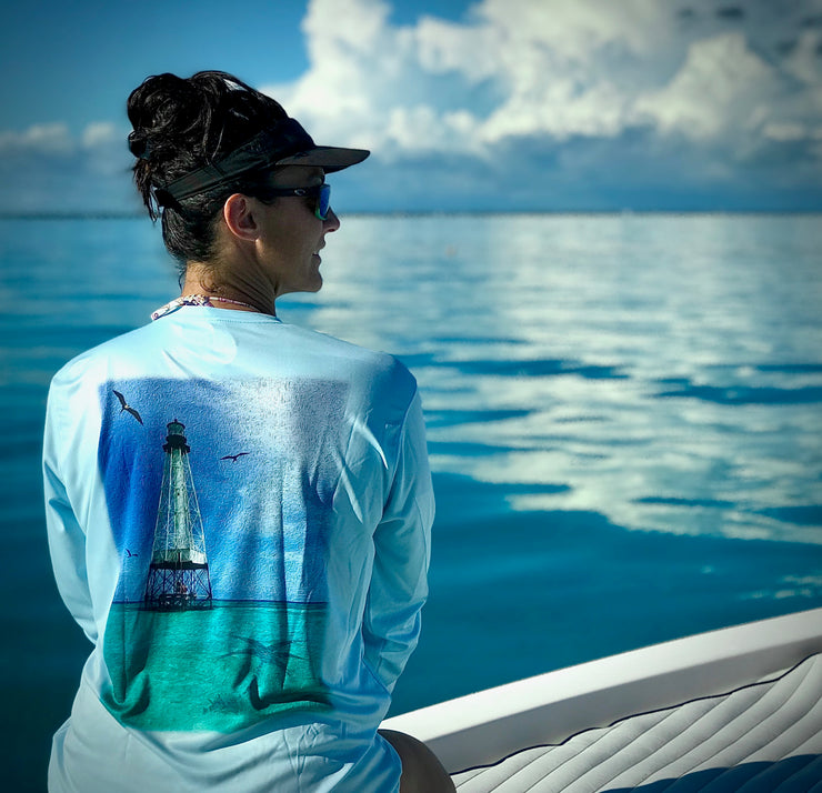 Alligator Lighthouse / Blue - Quick Dry UPF 50+ Mens Long Sleeve