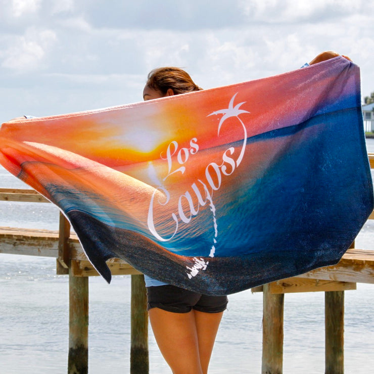 Beach Towel - Extra Large / Los Cayos Logo Sunset