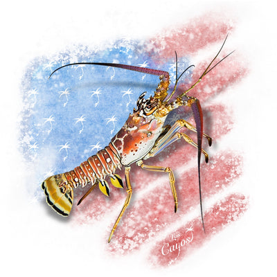 Patriotic Lobster / White - Quick Dry UPF 50+ Mens Long Sleeve