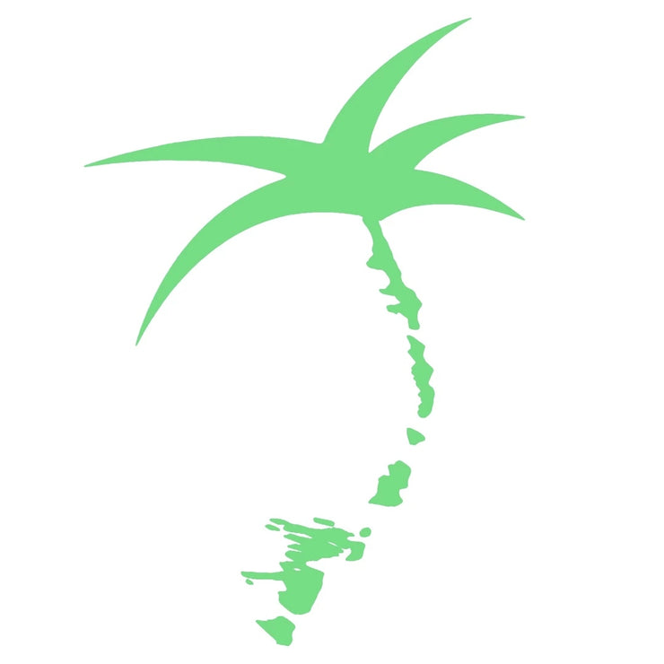 Decal - Lime Vinyl / Palmap = 1/2 Palm tree plus map of the Florida Keys