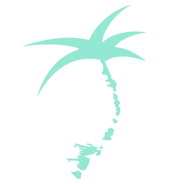 Decal - Mint Vinyl / Palmap = 1/2 Palm tree plus map of the Florida Keys