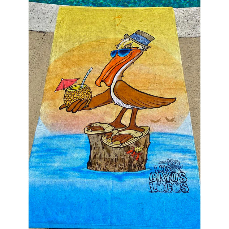 Beach Towel - Extra Large / Los Cayos Locos Pepé the Pelican