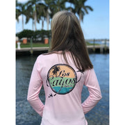 TriColor LCA Logo / Pink Vneck- Quick Dry UPF 50+ Ladies Long Sleeve