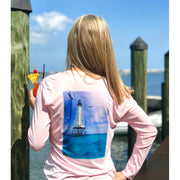 Alligator Lighthouse / Pink V-neck - Quick Dry UPF 50+ Ladies Long Sleeve