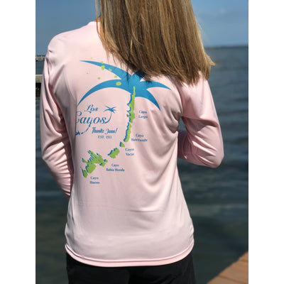 Thanks Juan Palmap / Pink V-Neck - Quick Dry UPF 50+ Ladies Long Sleeve