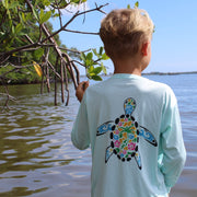 Water Bugs Los Cayos Turtle / Mint - Quick Dry UPF 50+ Kids Long Sleeve
