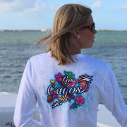Floral / White V-neck - Quick Dry UPF 50+ Ladies Long Sleeve