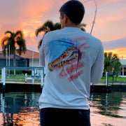 Patriotic Lobster / Silver - Quick Dry UPF 50+ Mens Long Sleeve