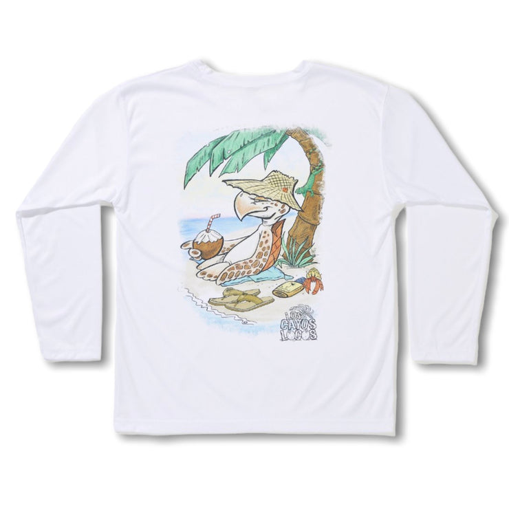 Water Bugs / Tiki Turtle / White - Quick Dry UPF 50+ Long Sleeve