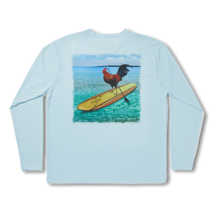 Cayo Hueso Rooster / Blue - Quick Dry UPF 50+ Mens Long Sleeve