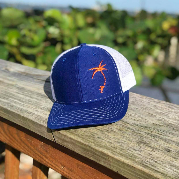 Embroidered Offset Palmap Trucker Hat - Blue / Orange