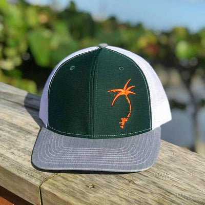 Embroidered Offset Palmap Trucker Hat - Green / Orange