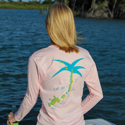 EST 1513 / Pink V-neck - Quick Dry UPF 50+ Ladies Long Sleeve