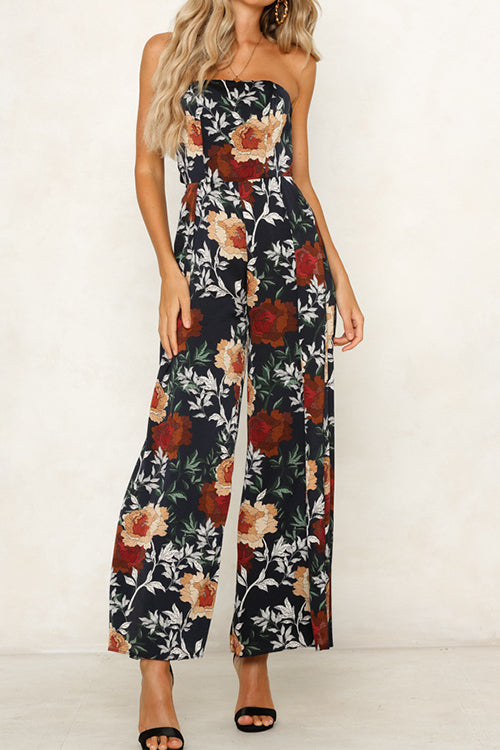 Awadolls Floral Printed Off Shoulder Jumpsuit