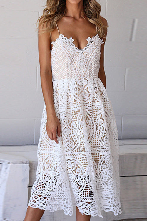 Awadolls Fashion V-Neck Hollow Out Crochet Lace Dress