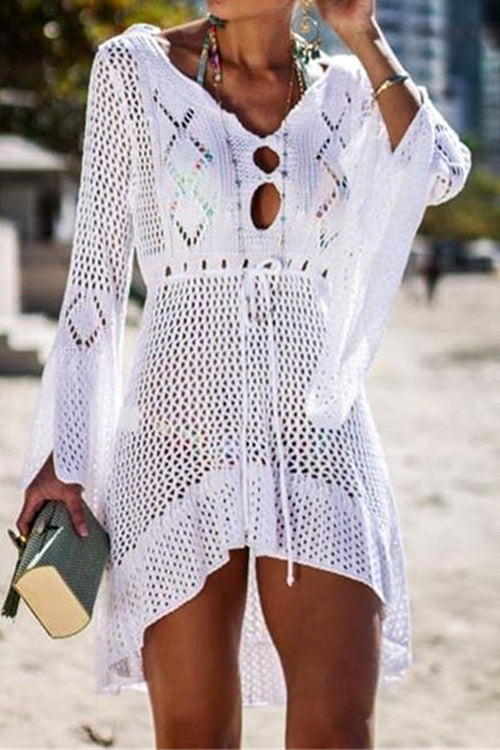 Awadolls Sexy Crochet White Dress