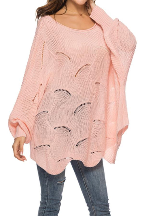Awadolls Bishop Sleeve Openwork Sweater