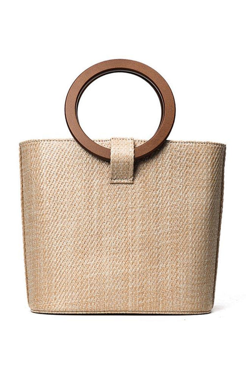Awadolls Fashion Circle Handle Straw Bag