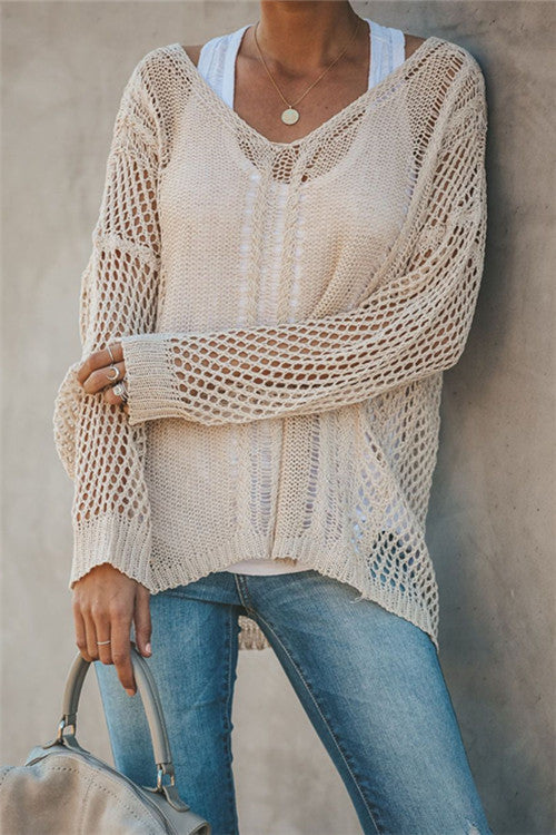 Awadolls Fashion Openwork Knit Cover Up