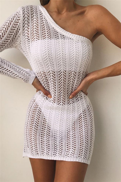 Awadolls Off Shoulder White Openwork Beach Dress