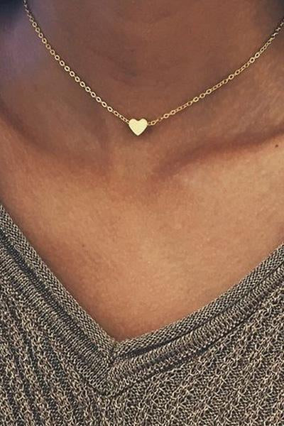 Awadolls Gold Heart Chain Choker