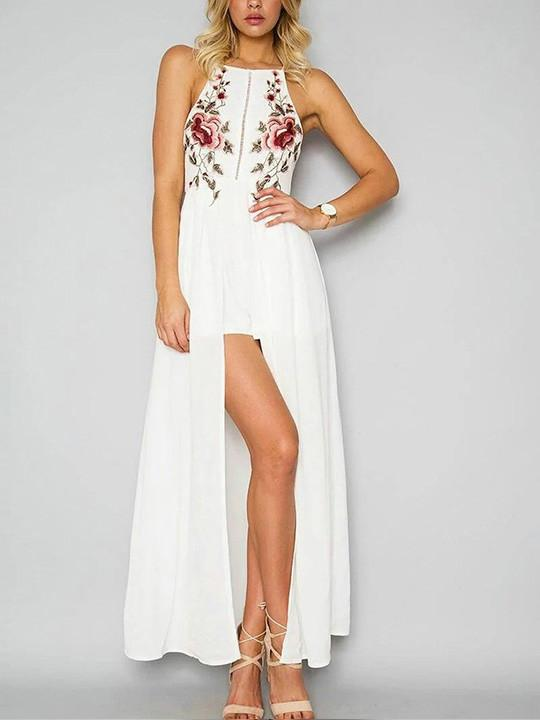 Awadolls Embroidery Halter Open Back Maxi Dress
