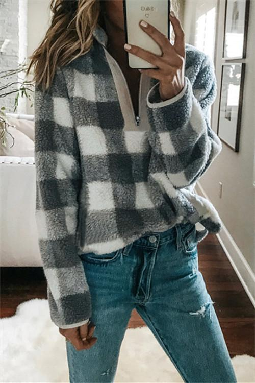 Awadolls Plaid Zipper Closure Pullover
